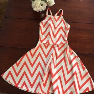Fun & Flirty coral/white fit and flare dress 👗